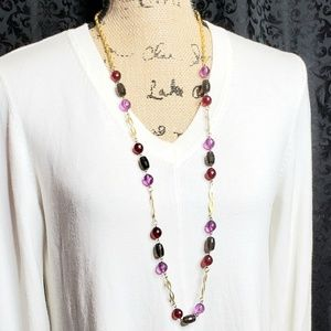 Vintage | Long Gold Beaded Necklace